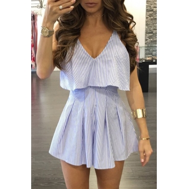 Sexy V Neck Backless Striped Lighte Blue Cotton One-piece Jumpsuits