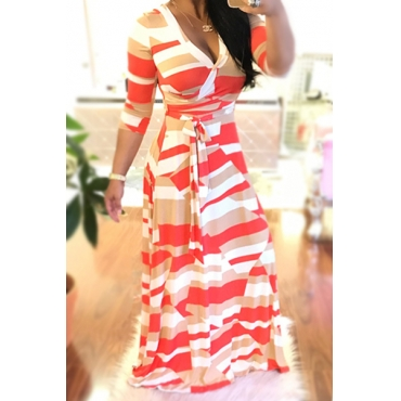 Стильный V Шеи Напечатаны Белые Здоровые Ткани Лодыжки Длина Платье (с Поясом)