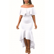 Очаровательная роса плеча Falbala дизайн белого полиэстера платье длиной до лодыжки
