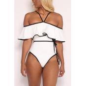 LovelySexy Dew Shoulder Falbala Design White Polyester One-piece Swimwear