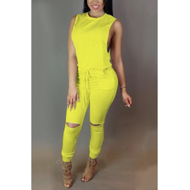 Trendy Round  Neck Tank Sleeveless  Zipper Design Drawstring Yellow  Polyester One-piece Jumpsuits