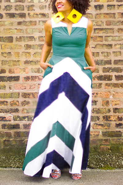 Bohemio V cuello sin mangas rayas impresas azul vestido de poliéster de longitud del tobillo