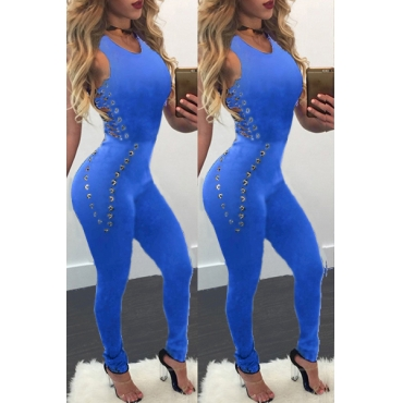 Stylish Round Neck Sleeveless Hollow-out Blue Cotton Blends One-piece Skinny Jumpsuits