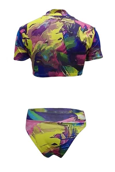 Polyester  Print Bikinis(Three-piece)