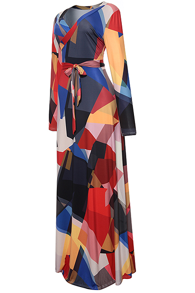 Stylé en V Neck imprimé noir en tissu mignon cheville longueur robe (avec ceinture)