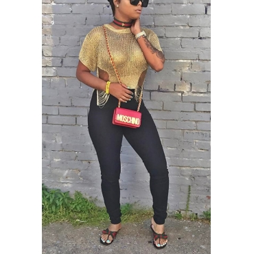 Sexy Round Neck Short Sleeves Hollow-out Gold Polyester Shirts