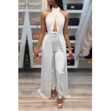 Sexy Patchwork White Spandex One-piece Jumpsuits