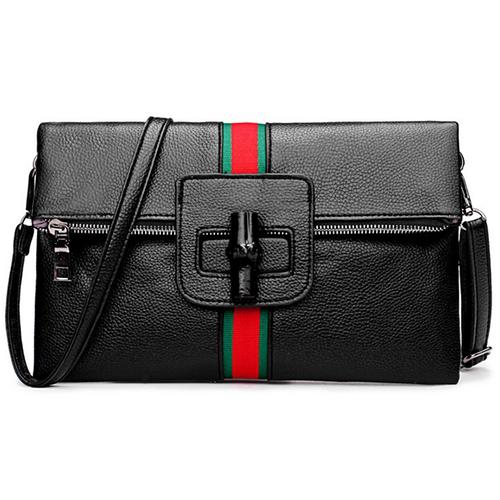 Стильный пэчворк черный PU клатчи сумки