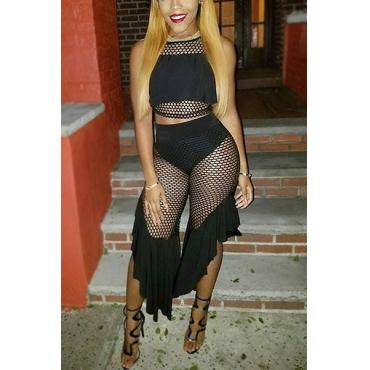 Sexy Round Neck Hollow-out Black Milk Fiber Two-piece Skirt Set