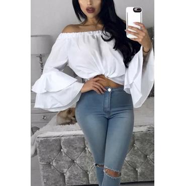 Stylish Dew Shoulder Long Sleeves Falbala Design White Chiffon Shirts