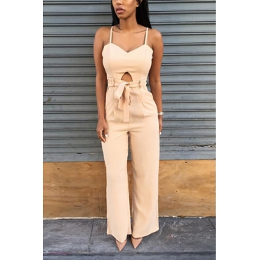 Euramerican Spaghetti Straps Sleeveless Hollow-out Knitting One-piece Jumpsuits