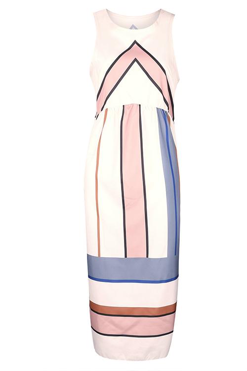 Polyester Casual O neck Tank Sleeveless A Line Mid Calf Dresses