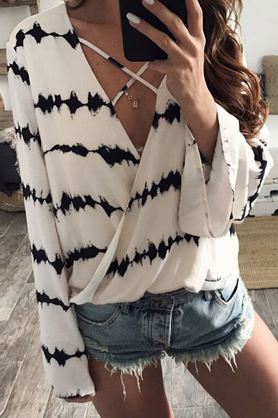 Stylish V Neck Long Sleeves Hollow-out White Cotton Blends Shirts