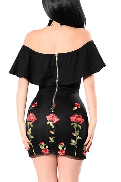Mini Vestido De Mezcla De Algodón Negro Con Hombros Descubiertos