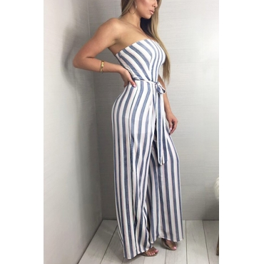 Stylish Dew Shoulder Striped Qmilch One-piece Jumpsuits