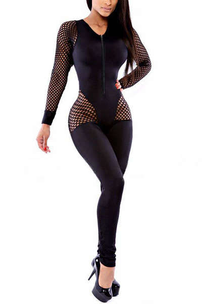 Sexy Hollow-out Black Knitting One-piece Skinny Jumpsuits