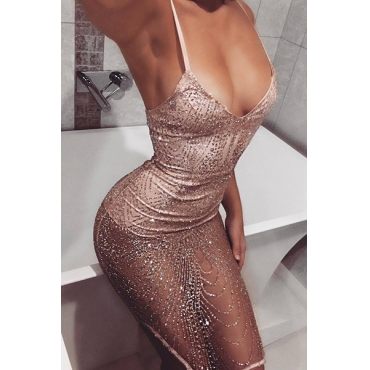 Sexy V Neck See-Through Pink Polyester Sheath Knee Length Dress