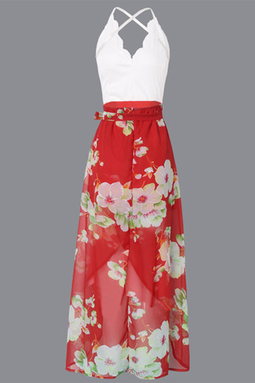 Chiffon Bohemian V Neck Spaghetti Strap Sleeveless A Line Ankle Length Dresses(Non Positioning Printing)
