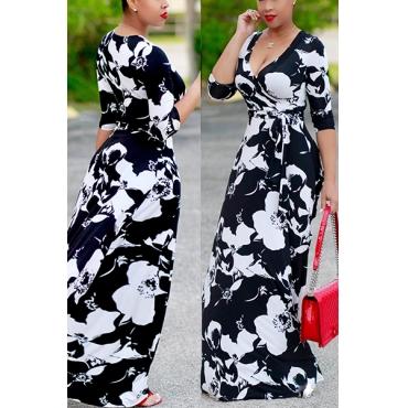 Euramerican V Neck Printed Black Polyester Ankle Length Dress
