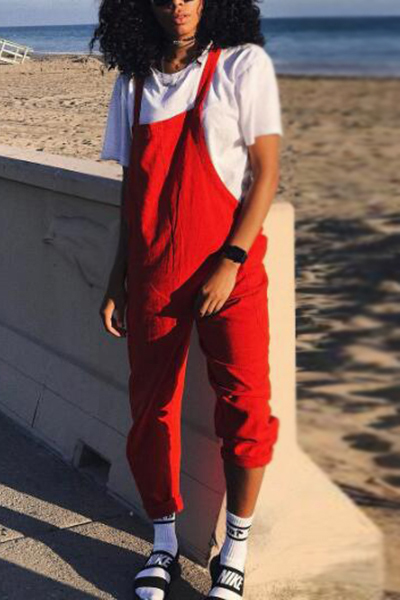 Stylish Red Polyester One-piece Jumpsuits