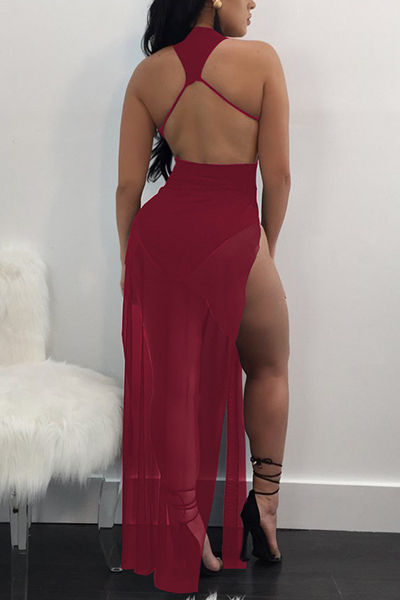 Sexy See-Through Wine Red Twilled Satin Ankle Length Dress