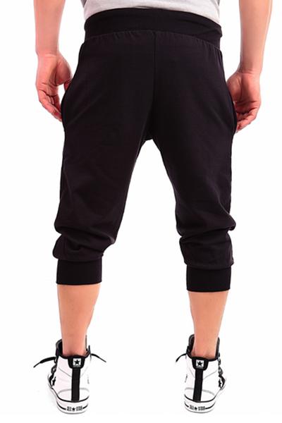 Leisure Elastic Waist Printed Black Cotton Blends Pants