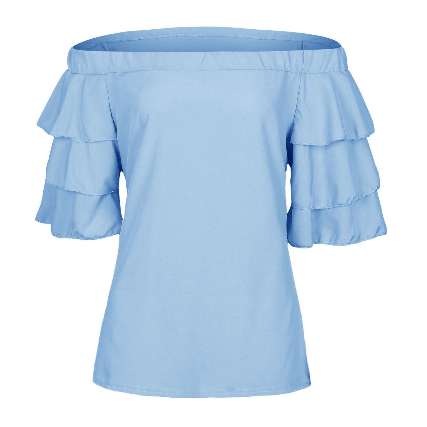 Leisure Dew Shoulder Half Sleeves Falbala Design Light Blue Polyester Shirts