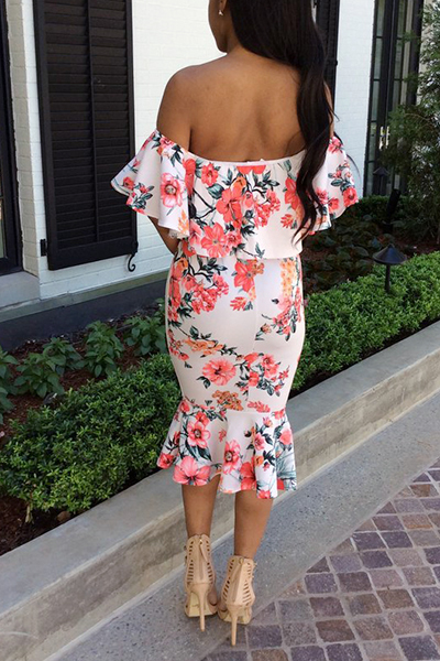 Euramerican Short Sleeves Printed Backless White Polyester Sheath Mid Calf Dress(Non Positioning Printing)