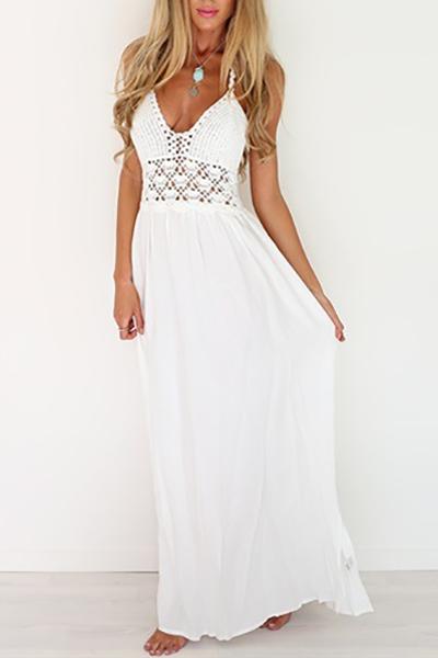 Sexy cuello V Backless vestido de gasa blanco de longitud de tobillo