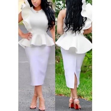 Stylish Round Neck Falbala Design White Polyester Two-piece Skirt Set