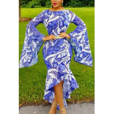 Trendy Round Neck Long Sleeves Printed Asymmetrical Milk Fiber Ankle Length Dress(Without Belt)