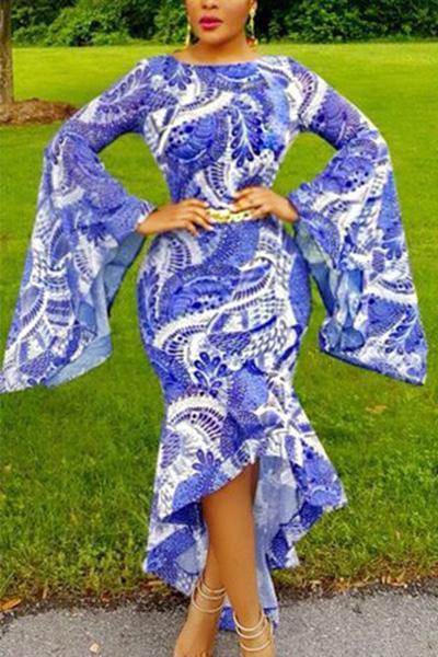 Trendy Round Neck Long Sleeves Printed Asymmetrical Milk Fiber Ankle Length Dress(Without Belt) Dresses <br><br>