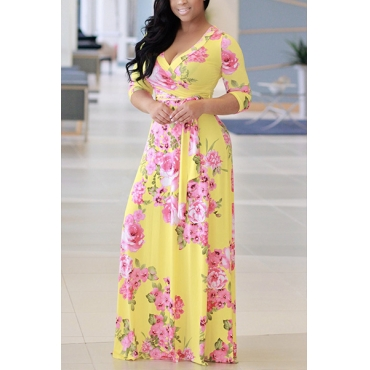 Stylish V Neck Half Sleeves Floral Print Yellow Milk Fiber Floor Length Dress