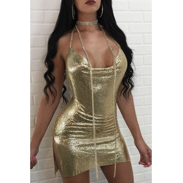 Sexy V Neck Backless Gold Sequined Sheath Mini Dress