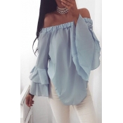 Stylish Dew Shoulder Long Sleeves Falbala Design B