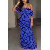 Charming Short Sleeves Falbala Design Blue Milk Fiber Sheath Ankle Length Dress