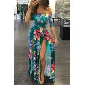 Elegante Dew hombro medio mangas de flores de impresión verde de leche de fibra de longitud de piso vestido