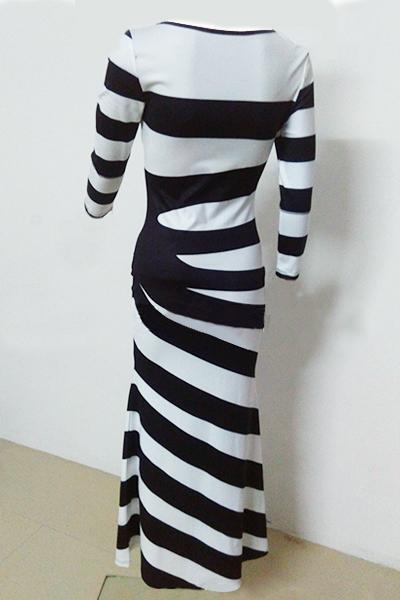 Casual O Neck Robe à manches longues et à manches longues en coton