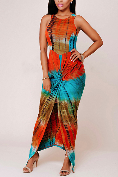Bohemian Round Neck Sleeveless Printed Pleated Rayon Ankle Length Dress