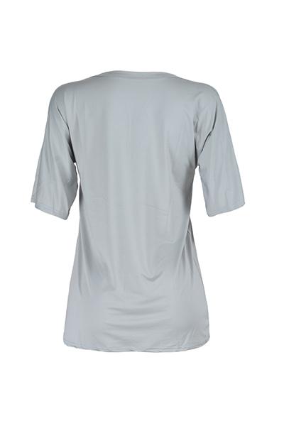 Euramerican V Шея с короткими рукавами Разбитые отверстия Серый Qmilch Mini Dress