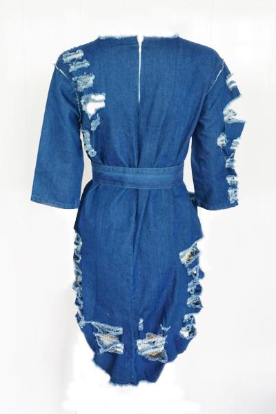 Leisure Round Neck Half Sleeves Blue Denim Mini Dress(With Belt)