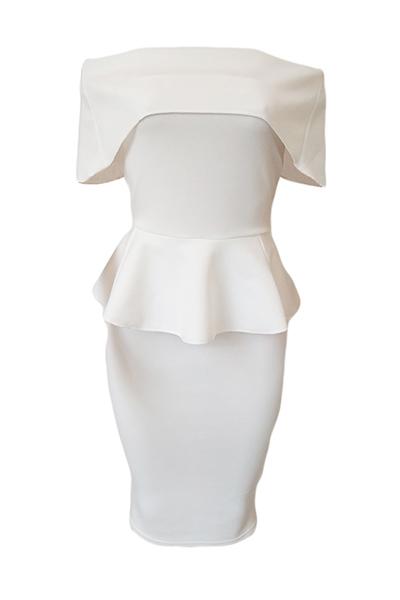 Здоровые ткани Мода Бато шеи короткий рукав Оболочка платья Средние теленок