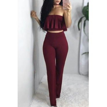 Red Qmilch Pants Solid Bateau Neck Sleeveless Sexy Two Pieces
