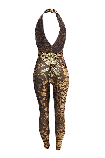 Sexy Deep V Neck Sleeveless Backless Gold  Sequined One-piece Skinny Jumpsuits
