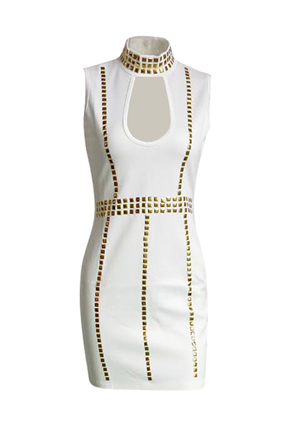 Charming Turtleneck Sleeveless Hollow-out White Healthy Fabric Sheath Mini Dress