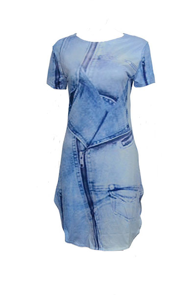 Casual Round Neck Short Sleeves Asymmetrical Blue Polyester Sheath Mini Dress