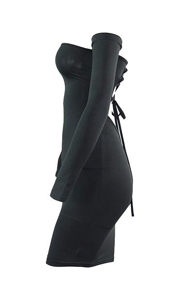 Sexy Dew Hombro mangas largas Hollow-out Negro Mezcla Baina Mini vestido