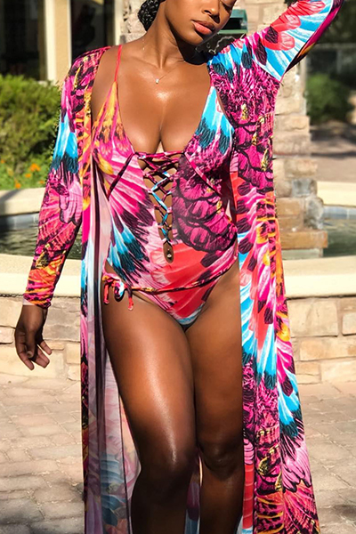 Sexy Printed Lace-up Hollow-out Red Polyester One-piece Swimwear(With Contain Shawl)