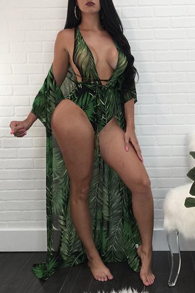 Roupa De Banho De Duas Peças De Poliéster Verde-escuro Impresso E Sexy (com Xale)