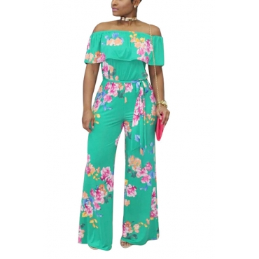 Trendy Printed Green Milk Fiber One-piece Jumpsuits